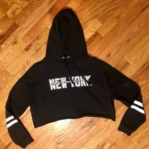 Divided Brand New York Crop Hooded Sweatshirt